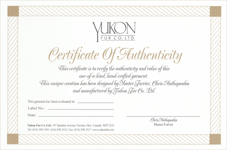 Yukon Fur Certificate of Authenticity