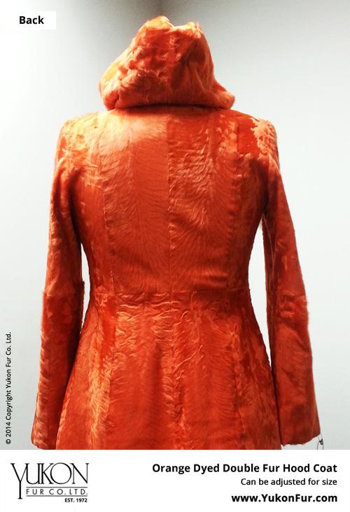 Orange Dyed Double Fur Hood Coat